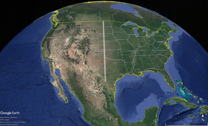 The 100th Meridian, a rough line delineating the wet, eastern United States from the dry, Western United States
